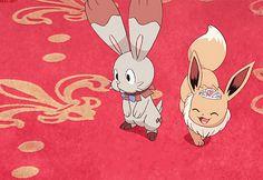 Eevee and Bunnelby, ultimate cuties!!