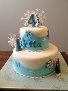 Disney Frozen birthday cake - frozen candle by #jdotlovecreations #frozencandle #frozencake www.jdotlove.etsy.com