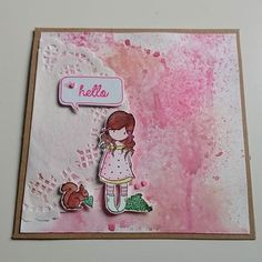 Und wieder eine Karte, diesmal habe ich die Heidi Swapp Colorshine Farben auf ein Stück nasses Aquarellpapier gesprüht und anschließend mit dem Fön getrocknet  #aquarellpapier #karte #kartenrohling #doilie #gorjuss #gorjussmini #hello #stempeln #koi #koicoloringbrushpen #wassertankpinsel #heidiswappcolorshine #heidiswapp