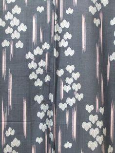 ☆ New Arrival ☆ 'Singing In The Rain' #womens #greyish #blue #vintage #kimono with #ivy and #pink #kasuri #ikat motif #design from #Fuji Kimono http://www.fujikimono.co.uk/fabric-japanese/singing-in-the-rain.html #costume #textile #kawaii