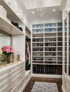Walk in closet. The shoe shelves, flooring & cabinetry!!!