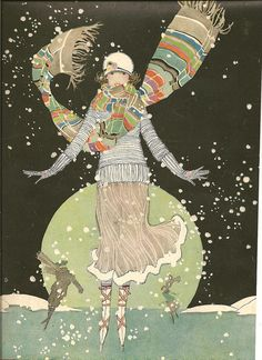 Art Deco Illustration from the cover of 1920 Woman's Magazine, Winter Skating