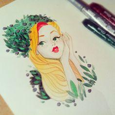 by sibylline_m www.sibylline-art.blogspot.com December doodle 2/24  #illustration #watercolor