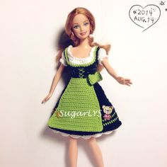 Crochet Barbie dress Barbie clothes dirndl by SugarLYS on Etsy