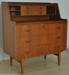 Zierlicher Teak Sekretär writing desk Teak Cabinet danish design mid century