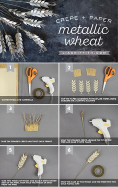 Frosted and Crepe Paper Wheat - www.liagriffith.com #diyinspiration #diyproject #diyprojects #diyidea #diyideas #paperart #papercut #madewithlia