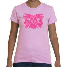 Womens Bulldog Tshirt - great gift for dog lovers who love pink! Ships Internationally from Australia.