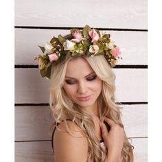 Blush Wedding flower crown pink bridal floral headband Pastel flower... ❤ liked on Polyvore featuring accessories, hair accessories, hair, white headband, white flower crown, pink headbands, floral crown headband and white flower garland