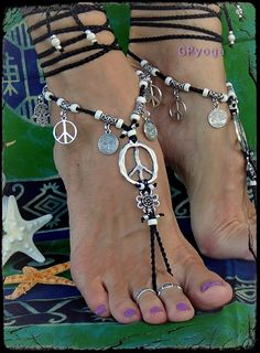 Flower PEACE sign BAREFOOT sandals Black and White YOGA by GPyoga