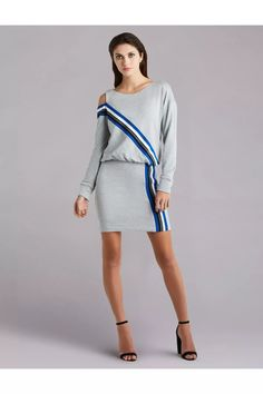 Bradbury Dress by Bailey/44 at ORCHARD MILE Cool Street Fashion, Street Style, Girl Trends, Bailey 44, Shoulder Cut, Stripes Design, The Dress, Striped Dress, Heather Grey