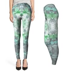 c3f120becc80d White Blue & Green Ombre Geometric Women's High Quality Fashion Workout  Fitness Leggings Grey Silver Tights Pants Abstract Mandala Design Like  Alexander ...
