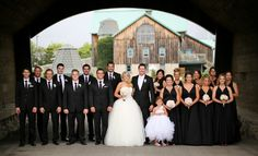 wedding inspirations + big bridal party + black theme + rustic wedding