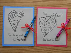 If your kiddo loves to draw, this card from A Mom with a Lesson Plan just might be the perfect choice. Have your little Picasso draw a heart or other design for their friends to color in, and then add in a fun phrase on the computer. If you want to go the extra mile, tie a crayon onto the card and you're good to go!