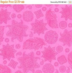 FALL SALE Magenta Floral Fabric Pink Henna Fabric A Tale of Two Kitties Dan Morris 24727 V Quilting Treasures