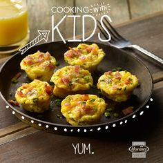 Get the kids involved with these tasty little bacon and egg muffins. Once everything is prepped, they can take over by filling up the muffin tins with all the ingredients.  #CookingWithKids