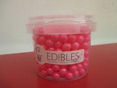 Large pink sugar pearls 90g/roza biseri 90g