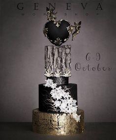 Exceptional black, white and metallic cake Black Wedding Cakes, Elegant Wedding Cakes, Beautiful Wedding Cakes, Gorgeous Cakes, Pretty Cakes, Amazing Cakes, Modern Cakes, Unique Cakes, Cupcakes