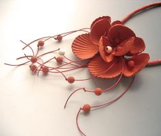 Necklace | Begona Rentero.  'Lisboa, Tile Orange'  Handmade papers from silk, cotton and other fibers