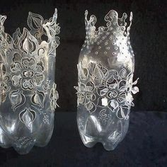 Amazing and Unique Tricks: Green Vases Yellow tall flower vases.Vases Design Candle Holders vases ideas how to make.Crystal Vases Decoration.. Plastic Bottle Crafts, Plastic Art, Recycle Plastic Bottles, Plastic Bottle Flowers, Recycled Bottles, Recycled Crafts, Diy Crafts, Plastik Recycling, Bottles And Jars