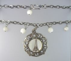 Antique FRENCH Mother of Pearl EIFFEL TOWER Bead Necklace Pendant -n-etmopr