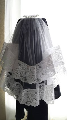 First  Communion Veil with Large Border Lace Trim by SaongJai