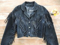 Vintage fringed black suede leather jacket