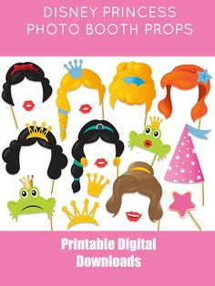 Printable Princess Photo Booth Props, Princess Birthday Party Photo Booth Props, Instant Download Disney Princess Party Props #ad