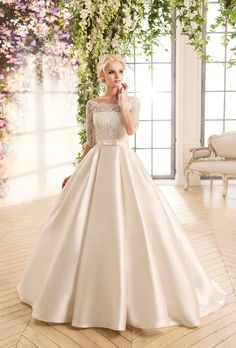 Satin Wedding Dresses Cheap Boat Neck White Ivory Lace Top Wedding Dress With Sleeves 2016 A Line Satin Bow Bridal Wedding Gowns Robe De Mariage Western Wedding Dresses, Top Wedding Dresses, Bridal Dresses, Bridesmaid Dresses, Gown Wedding, Wedding Gowns With Sleeves, Lace Wedding, Wedding Favors, Wedding Wear