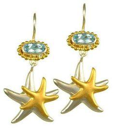 Nautical earrings Gift for her Nautical jewelry Beach earrings Shell earrings Seashell /& sea star earrings Fashion earrings