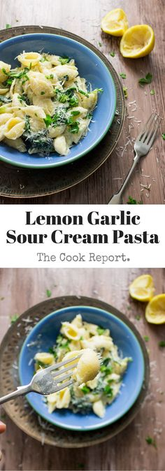 This lemon garlic sour cream pasta is a great combination of sweet garlic and tart lemon and sour cream. It's also so quick to put together!