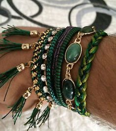 Braid green bracelet with crstals and stones magnetic / Pulsera magnetica verde con cristales y piedras