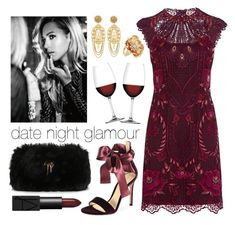 """""""Date Night Glamour"""" by sarina-noel ❤ liked on Polyvore featuring Karen Millen, Gianvito Rossi, Nachtmann, Giuseppe Zanotti, Dolce&Gabbana, Kate Spade, DateNight, lace and wine"""