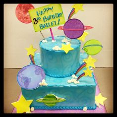 Space Solar System Planet cake