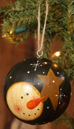 painted ornament- snowman with star