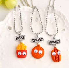 Fries Hamburger Hotdog Charm Necklaces by GifthyClub on Etsy