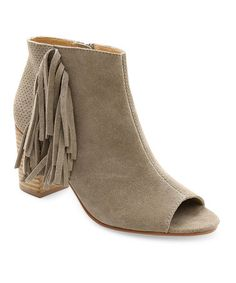 Another great find on #zulily! Taupe Suede Erika Open-Toe Bootie #zulilyfinds