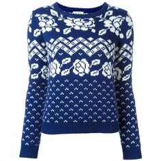 Manoush 'Norway' fair isle knit jumper (13.755 RUB) ❤ liked on Polyvore featuring tops, sweaters, blue, blue top, knit sweater, blue sweater, fair isle knit sweater and manoush