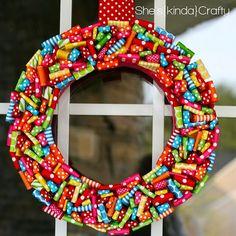 How fun is this polka dot ribbon wreath?