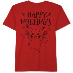 Jem Men's Pokemon Pikachu Snowflake Graphic-Print T-Shirt ($24) ❤ liked on Polyvore featuring men's fashion, men's clothing, men's shirts, men's t-shirts, red, mens t shirts, mens red t shirt, mens graphic t shirts and mens red shirt