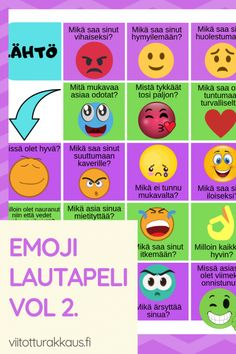 Emoji tunteet lautapeli vol - ViitottuRakkaus. Finnish Language, Social Skills, Special Education, Cool Kids, Emoji, Preschool, Classroom, Teaching, Feelings