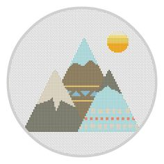 Mountains Cross Stitch Pattern Instant download Kids playroom