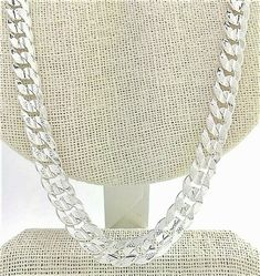 """Men's 10mm Miami Cuban curb chain necklace 24"""" textured sterling silver plated #Unbranded #MiamiCubanCurbChain Rapper Jewelry, Silver Chain For Men, Hip Hop Chains, Stainless Steel Bracelet, Cuban, Bracelet Set, Gold Chains, Silver Plate, Miami"""