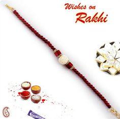 Red Pearl Beads Bracelet Rakhi OWBR13365 - www.onlinerakhiwala.com