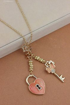 Heart lock and key necklace.  Valentines Day gift.
