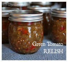 Sweet Green Tomato Relish Recipe, Green Tomato Chow Chow Recipe, Tomato Pickle Recipe, Green Tomato Salsa, Green Tomato Recipes, Tomato Canning Recipes, Easy Canning, Canning Green Tomatoes, Pickled Green Tomatoes