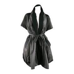 MANTU Size L Black Nylon Short Sleeve Wool Trim Puff Coat
