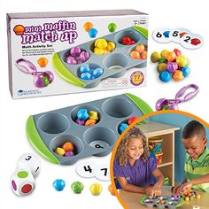 This game really appeals to me for developing counting, sorting and matching skills as well as number recognition, while having fun with the unique squeezy tweezers. This is a pre-maths game that also develops eye-hand co-ordination and fine motor control. Your kids will love sorting and counting the mini muffins in the baking tray. Use the number and colour dice, and discs, for more advanced fun. Math Games, Maths, Number Recognition, Sensory Toys, Mini Muffins, Family Games, Learning Resources, Fine Motor