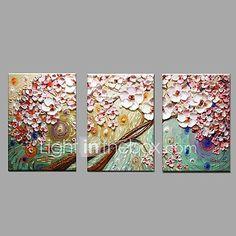Pintada a mano Floral/Botánico Horizontal,Pastoral Estilo europeo Tres Paneles Lienzos Pintura al óleo pintada a colgar For Decoración 2017 - $1129.25
