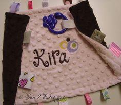 Personalized Minkee Softie Taggie starting at $30 www.sun7designs.com  #babygift