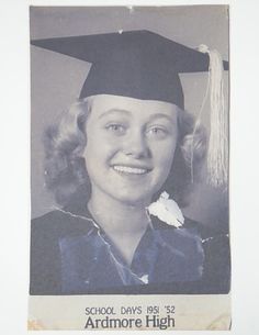 Housed within a hardcover binder with Ardmore High School Class of 1952 Eddi Rue McClanahan embossed in silver on the cover. Ardmore High School is in Ardmore Golden Girls Quotes, Girl Quotes, Rue Mcclanahan Young, Fact Families, Betty White, How To Be Likeable, School Photos, Interesting History, Studio Portraits